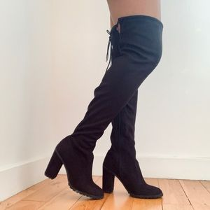 THIGH HIGH SUEDE BLACK BOOTIES